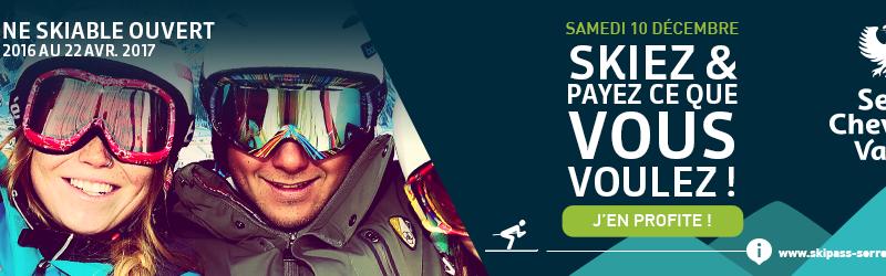 Skiez à Serre Chevalier le 10 décembre, louez vos skis chez Jules Melquiond Sports et payez ce que vous voulez